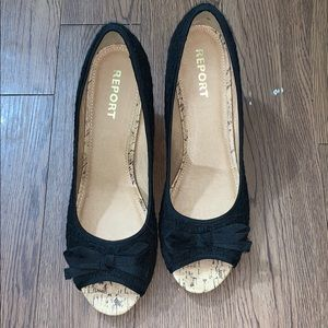 Report Size 12 Black and Tan Peep Toe Wedges